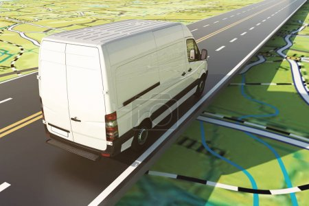 Delivery van runs along the highway
