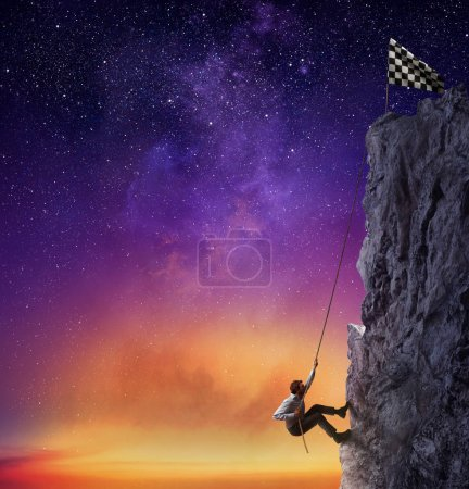 Photo for Businessman climbing  a mountain with a rope to get the flag. Achievement business goal and difficult career concept - Royalty Free Image