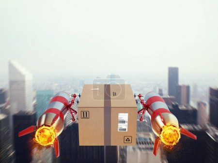 Package flies on the city