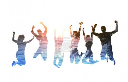 Silhouettes of happy jumping friends