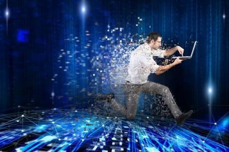 Photo for Fast internet connection concept with running businessman with laptop - Royalty Free Image