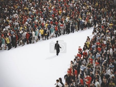 Photo for Businessman stands out from the mass walking in the reverse direction. 3D Rendering - Royalty Free Image