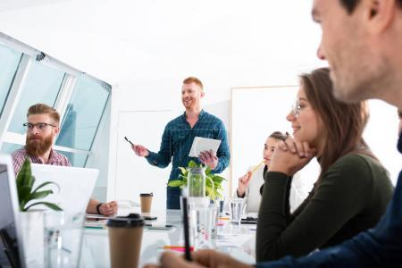 Photo for Team of business people work together in office. Concept of teamwork and partnership - Royalty Free Image