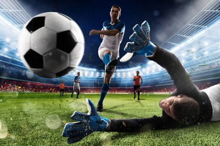 Photo for Goalkeeper kicks the ball in the stadium during a football game - Royalty Free Image
