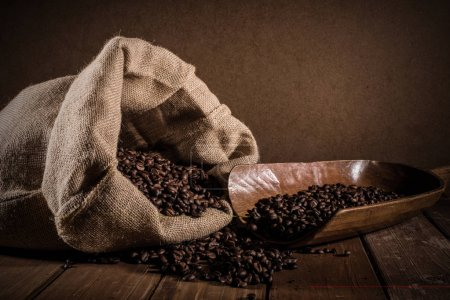Coffee beans with jute bag