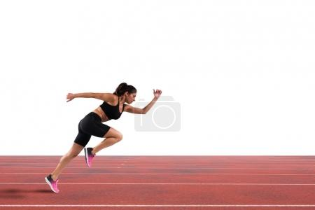 Photo for Athletic woman runner in sportswear on the run track - Royalty Free Image