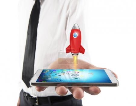 Small rocket starts from the cell phone
