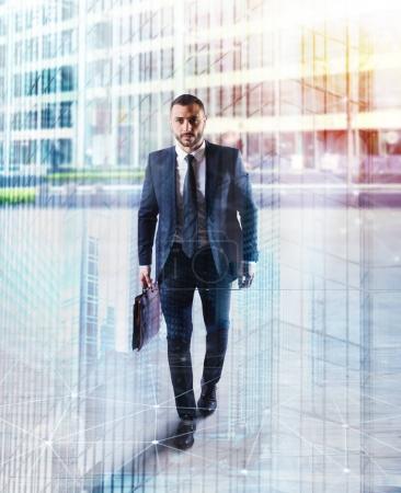 Businessman walking on the street
