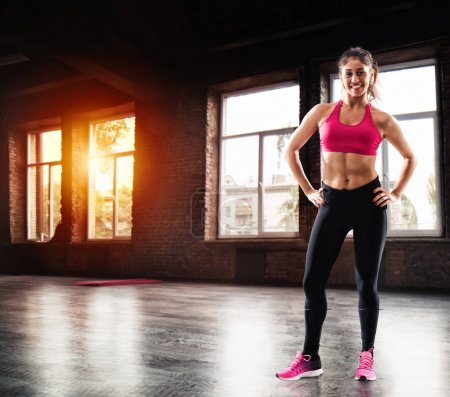 Determinated sexy girl at the gym ready to start fitness lesson