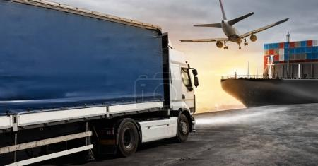 Truck, aircraft and cargo ship ready to start to deliver packages