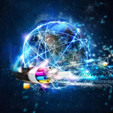 Internet connection with the optical fiber. Concept of fast internet