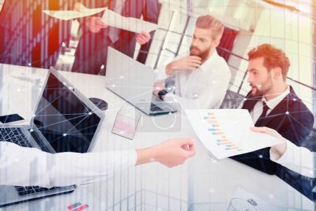 Photo for Business people work together in office. Concept of teamwork and partnership. double exposure - Royalty Free Image