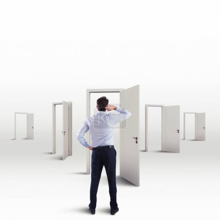 businessman in the choice of the right door