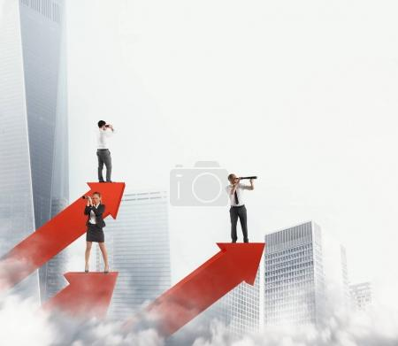Business men on arrows statistics looking for business. 3D Rendering