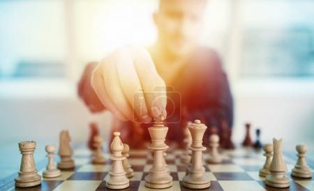 Photo for Businessman play with chess game in office. concept of business strategy and tactic - Royalty Free Image