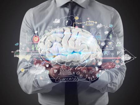 Photo pour Concept de la capacité du cerveau humain à traiter les idées. Rendu 3D - image libre de droit
