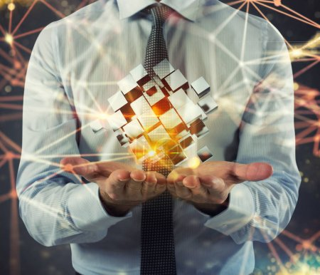 Photo for Abstract cubes shines on businessman hands. Concept of vision and innovation. 3D Rendering - Royalty Free Image
