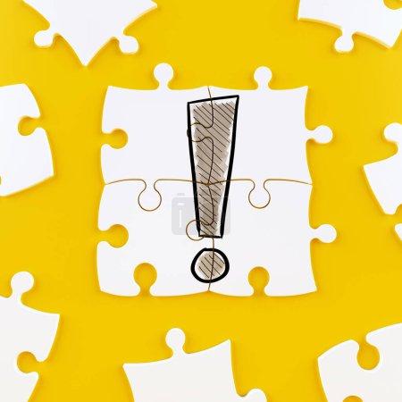 Photo pour Carreaux de puzzle blanc avec une exclamation dessinée - image libre de droit