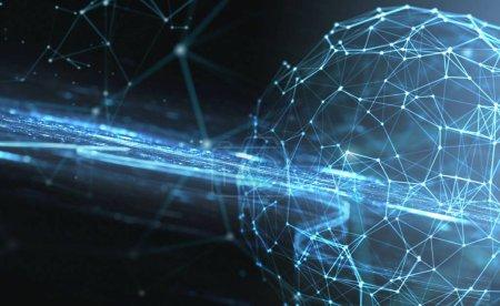 Photo pour Résumé fond bleu internet avec connexion de fibre optique - image libre de droit