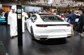 DUBAI, UAE - NOVEMBER 17: The Porsche Panamera turbo S E-Hybrid car is on Dubai Motor Show 2017 on November 17, 2017