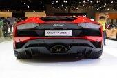DUBAI, UAE - NOVEMBER 17: The Lamborghini Aventador S Coupe sportscar is on Dubai Motor Show 2017 on November 17, 2017