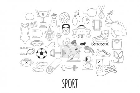 Hand drawn vector fitness and sport doodle icons set