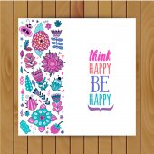 Floral card design flowers and leaf doodle elements Illustration made of flowers and herbs Vector decorative invitation Spring elements Floral doodles Think happy be happy