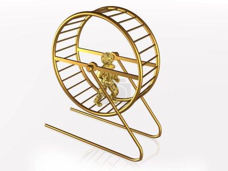 Photo pour Homme dans la cage de l'écureuil sur fond blanc, illustration 3D . - image libre de droit