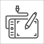 Graphics Tablet Thin Line Vector Icon Isolated on the White Background