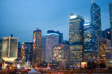 Skyscrapers in Hong Kong at twilight