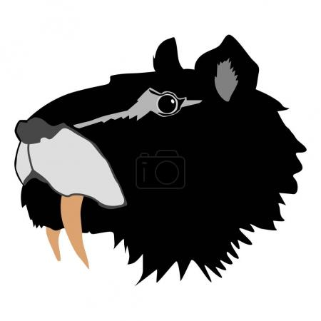 Illustration for Silhouette of saber-toothed tiger - Royalty Free Image