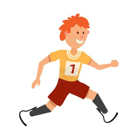 Little boy on prostheses. Young runner disabled athlete on a whi