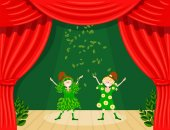 Abstract children's theater Little girls on the stage of the theater The play in the kindergarten Holiday of the meeting of spring Young actresses are spring and summer Vector illustration