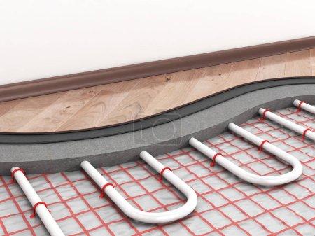 Photo pour Système de plancher chauffant. illustration 3D - image libre de droit