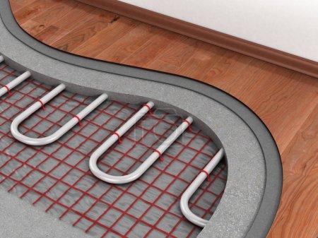 Photo pour Système de plancher chauffant. Nous voyons les couches d'isolant pour le chauffage. - image libre de droit