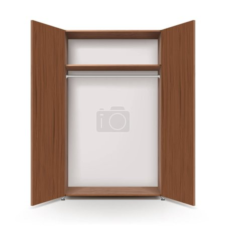 Empty open wooden wardrobe isolated on the white background