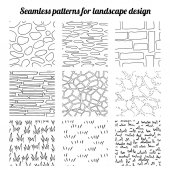 Big collection of seamless patterns for landscape design Endless texture contour black and white