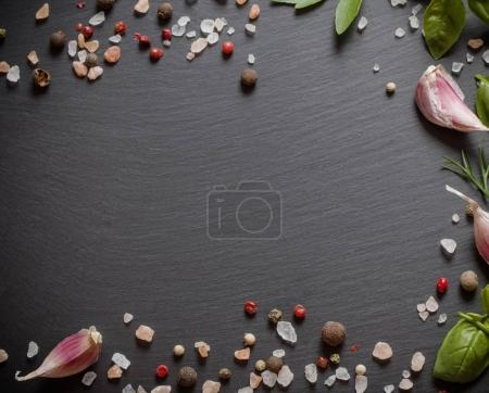 Photo for Spice on black stone background - Royalty Free Image