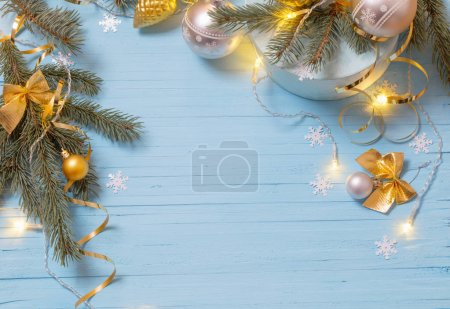 Christmas background with fir branchs and balls