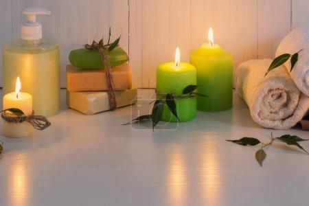 Beautiful composition of spa treatment on white background