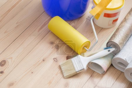 tools for repair on background floor