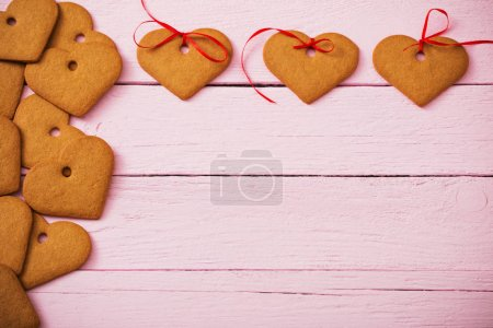 cookies heart on wooden background