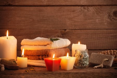 Beautiful composition of spa treatment on dark wooden  backgroun