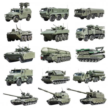 Modern Russian armored military vehicle tracked and wheeled