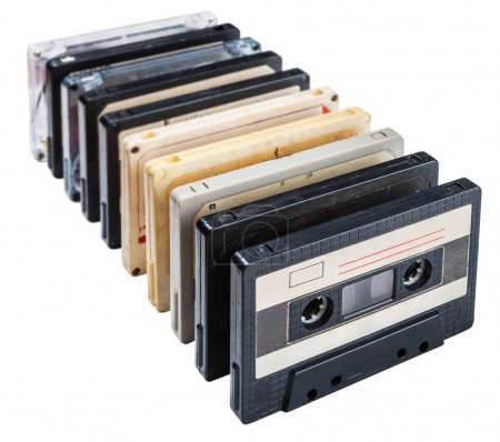 Old Cassette tapes isolated on white