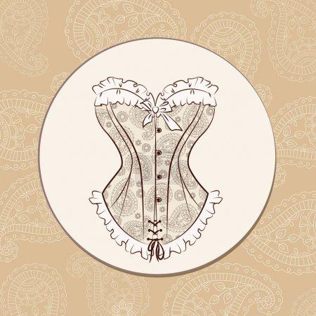 Illustration pour Illustration vectorielle avec magnifique corset brodé avec ornement paisley . - image libre de droit