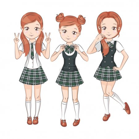Illustration for Set of cute girls with different hairstyles and different stylish school uniform for your design. They smile and showing different signs. Vector isolated on white. - Royalty Free Image
