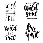 Set of Boho Style Lettering quotes and hand drawn elements Wild and free free spirit wild soul phrases Vector illustration