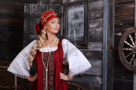 Photo for Beautiful woman portrait in russian style. Beautiful Russian girl in traditional dress. Russian style. - Royalty Free Image
