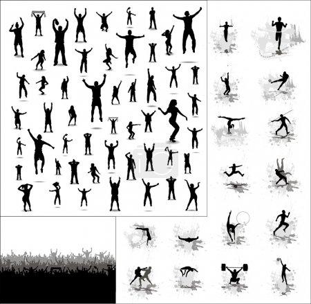 Illustration pour Silhouettes des athlètes et des affiches de fans heureux - image libre de droit